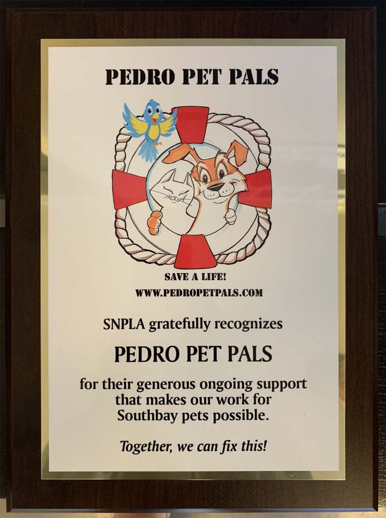 SNPLA appreciation plague to Pedro Pet Pals